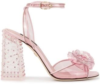 Dolce & Gabbana Keira flower and crystal embellished sandals