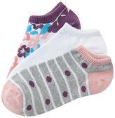 Aeropostale Womens 3-Pack Floral, Stripe Dot & Solid Ankle Socks