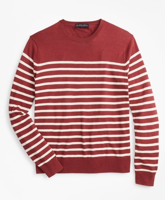 Brooks Brothers Silk and Cotton Stripe Crewneck Sweater
