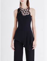 Roland Mouret Hexagonal-embroidered crepe top