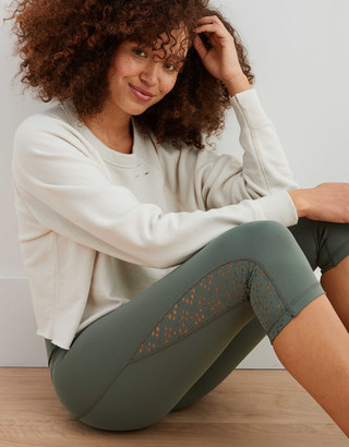 aerie Move Lasercut High Waisted Cropped Legging