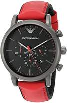 Emporio Armani Men's AR1971 Dress Red Leather Quartz Watch