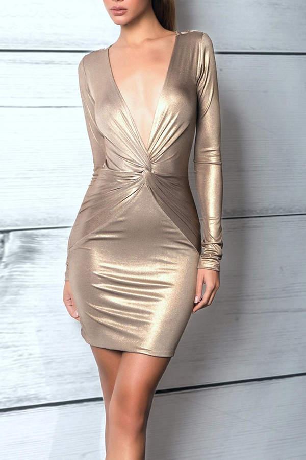 Savee Couture Metallic Knot Dress