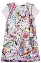 Roberto Cavalli Watercolour Leopard Graphic Silk Dress