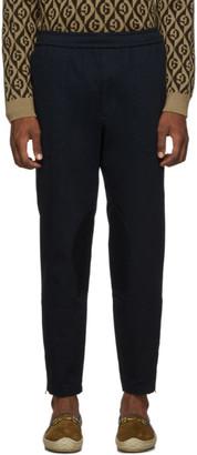 Gucci Navy Drawstring Zip Trousers