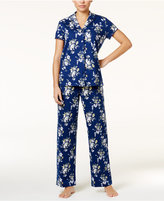 Charter Club Lace-Trimmed Printed Knit Pajama Set, Only at Macy's