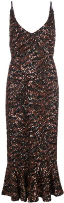 Saloni Sequin-Sequin Peplum-Hem Midi Dress