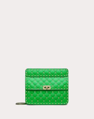 Valentino Medium Rockstud Spike Fluo Calfskin Leather Bag Women Fluorescent Green Calfskin 100% OneSize