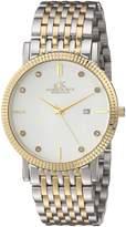 Adee Kaye Men's Quartz Stainless Steel Dress Watch, Color:Two Tone (Model: AK4801-MTTG)