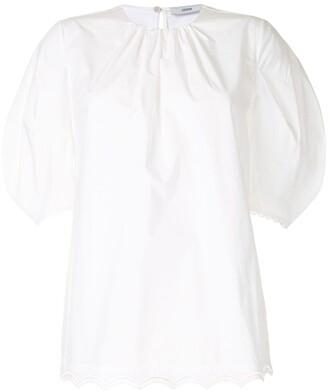 Erdem Lace-Trim Short-Sleeve Blouse