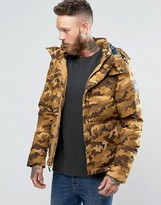The North Face Box Canyon Down Jacket In Brown Camo
