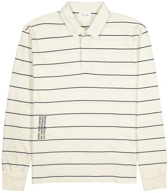 Wood Wood White striped cotton polo shirt