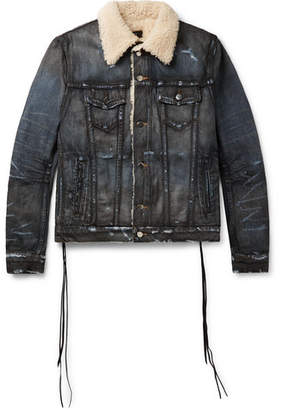 Amiri Shearling-Lined Distressed Denim Trucker Jacket