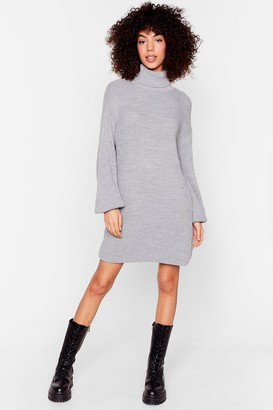 Nasty Gal Womens On a Roll Knitted Turtleneck Jumper Dress - Grey - S