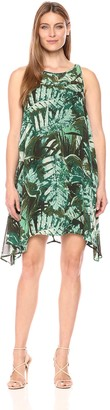 Robbie Bee Women's All Over Printed Chiffon Trapeze Illusion Neck Dress