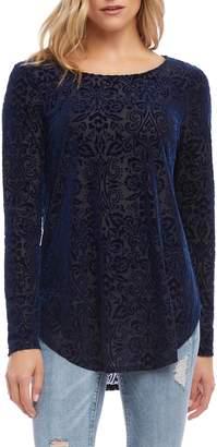 Karen Kane Velvet Burnout Shirttail Blouse