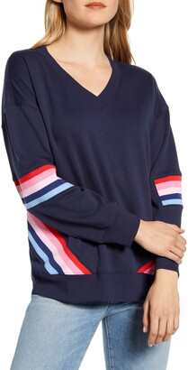 Wit & Wisdom With & Wisdom Stripe Detail V-Neck Sweatshirt