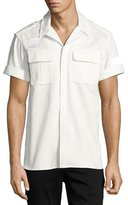 Neil Barrett Short-Sleeve Cotton Military Shirt, Off White