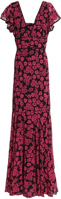 Milly Fluted Floral-print Crepe De Chine Gown