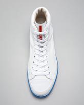 Prada Hi-Top Neon-Sole Sneaker