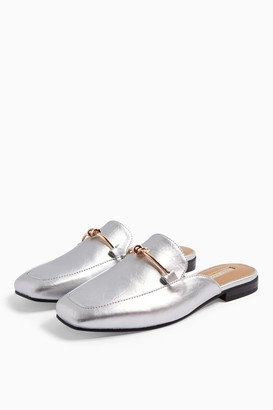 Topshop Womens Ada Silver Mule Loafers - Silver