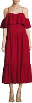Robert Rodriguez Off-the-Shoulder Ruffled Midi Dress, Crimson