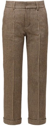 Saint Laurent High-rise Houndstooth Wool-blend Trousers - Beige