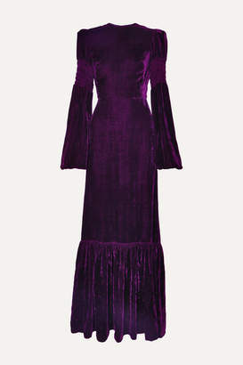 The Vampire's Wife Tiered Shirred Velvet Maxi Dress - Purple