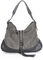Carla Mancini Gray Whipstitch Tassel Leather Hobo