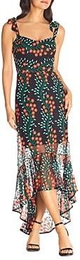 Dress the Population Wren Embroidered Illusion Hem Dress