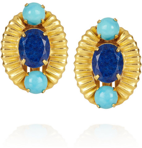 Bounkit Gold-plated, turquoise and lapis lazuli clip earrings