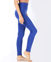 Zenana Women's Leggings DENIM - Denim Blue Tummy-Control Fleece-Lined Leggings - Women