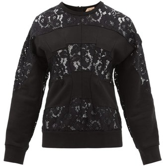 No.21 No. 21 - Floral Lace And Cotton-jersey Sweatshirt - Womens - Black