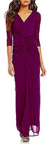 JS Collections V-Neck 3/4 Sleeve Draped Front Ruched Gown