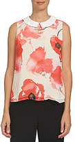 CeCe Sleeveless Watercolor Poppy Collared Shell