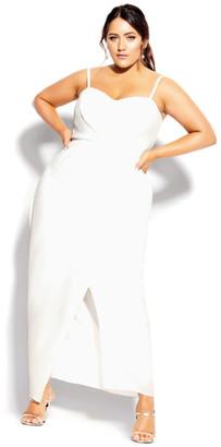 City Chic Sweet Drape Maxi Dress - ivory