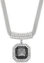 Alfani Silver-Tone Black Stone and Crystal Pavé Pendant Necklace