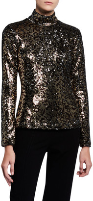 Milly Leopard Sequins Long-Sleeve Turtleneck Top