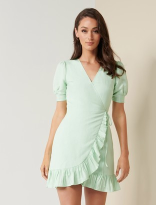 Forever New Boston Wrap Linen Mini Dress - Green - 10