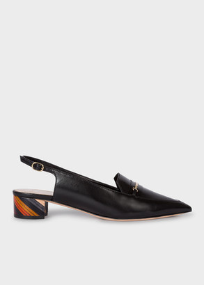 Paul Smith Women's Black Leather 'Dido' Slingback Shoes With 'Swirl' Heels