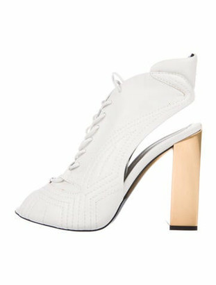 Tom Ford Leather Cutout Accent Slingback Sandals White