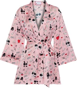 Alice + Olivia Maylin Printed Satin Robe