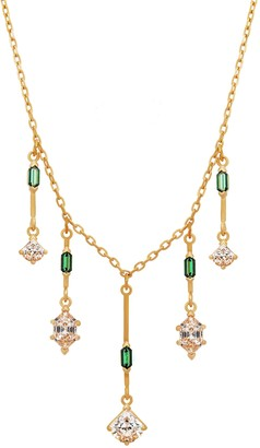 Swarovski Oz 23K Yellow Gold Plated Green Crystal & CZ Statement Necklace