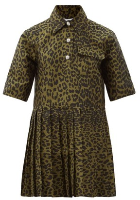 Ganni Pleated Leopard-jacquard Mini Shirt Dress - Leopard