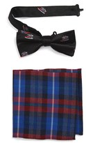Nordstrom Boy's Sneaker Print Silk Bow Tie & Wool Blend Plaid Pocket Square