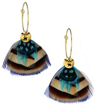 Gas Bijoux Bermudes 24K Goldplated & Feather Drop Earrings