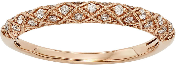 JCPenney MODERN BRIDE 1/6 CT. T.W. Certified Diamond 14K Rose Gold Wedding Band