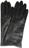 black leather woven detailed gloves