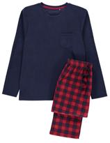 George Check Print Fleece Pyjama Set