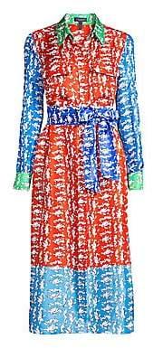 Escada Women's Dsehra Colorblock Silk Printed Shirtdress